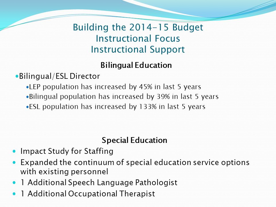 Building the 2014-15 Budget Instructional Focus Instructional Support Bilingual Education Bilingual/ESL Director LEP population has increased by 45% i