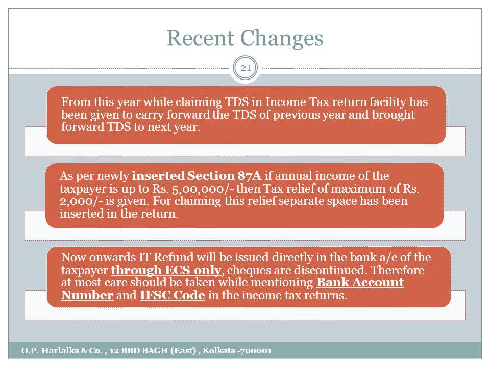 Recent Changes O.P. Harlalka & Co., 12 BBD BAGH (East), Kolkata -700001 21