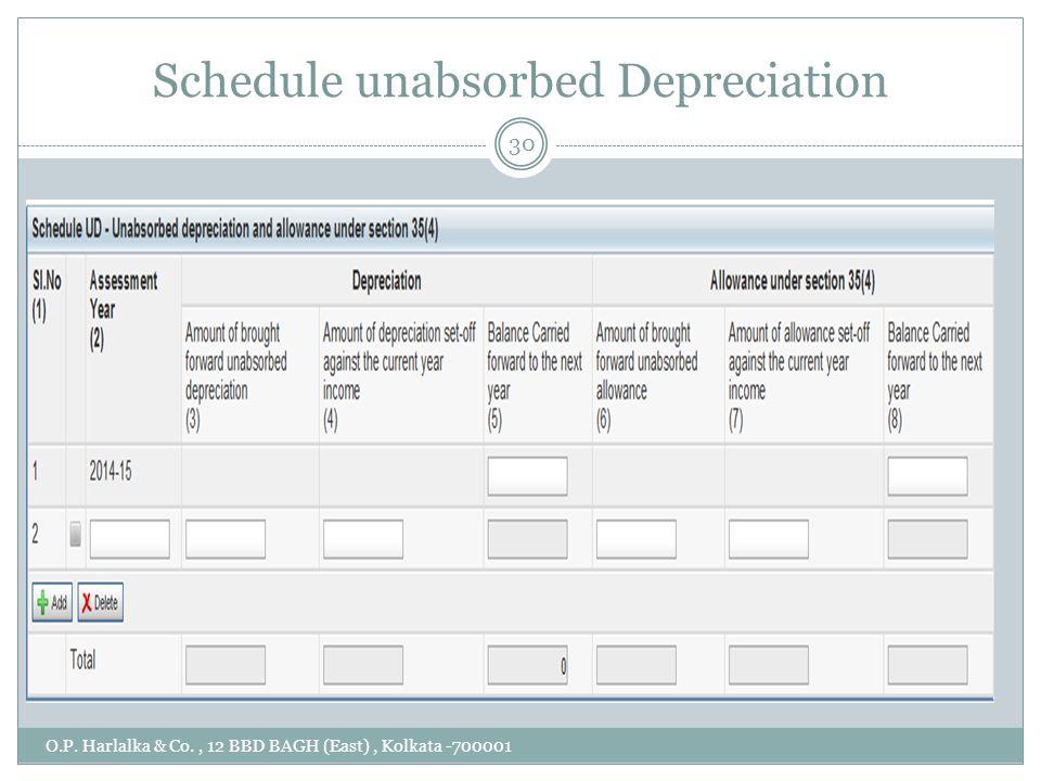 Schedule unabsorbed Depreciation O.P. Harlalka & Co., 12 BBD BAGH (East), Kolkata -700001 30