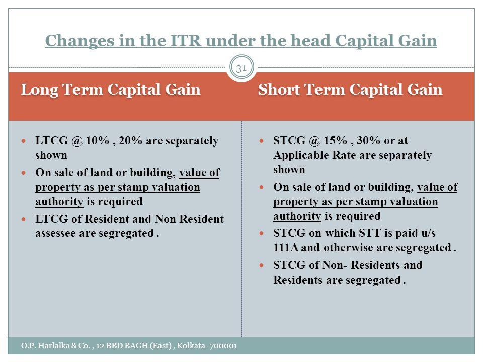 Long Term Capital Gain Short Term Capital Gain O.P.
