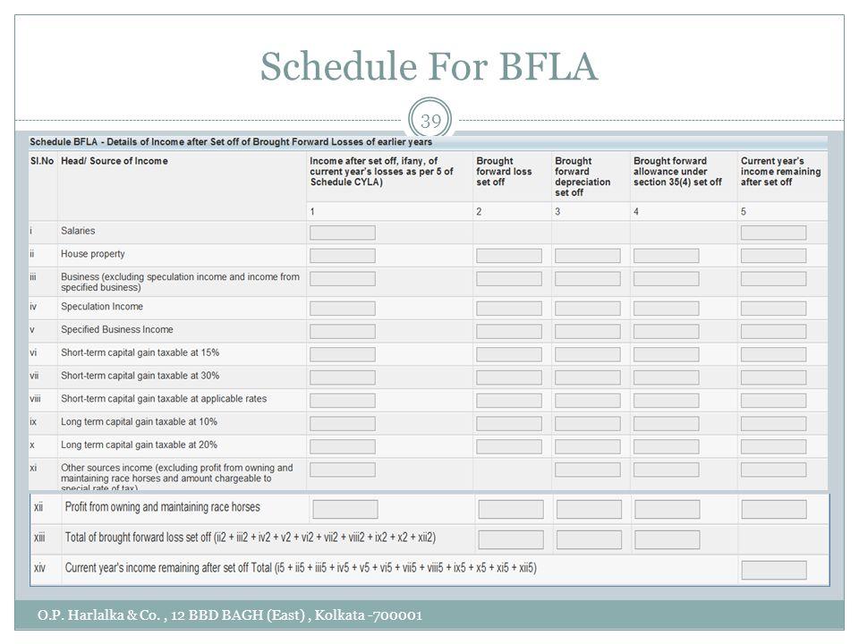 Schedule For BFLA O.P. Harlalka & Co., 12 BBD BAGH (East), Kolkata -700001 39