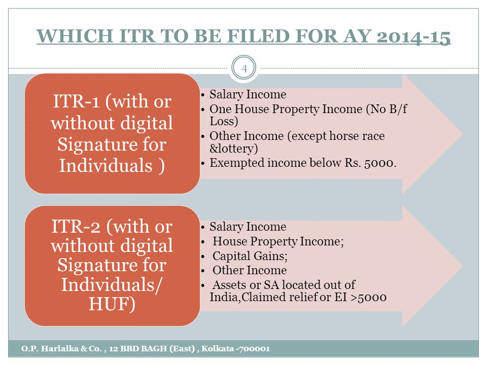 WHICH ITR TO BE FILED FOR AY 2014- 15 O.P. Harlalka & Co., 12 BBD BAGH (East), Kolkata -700001 4