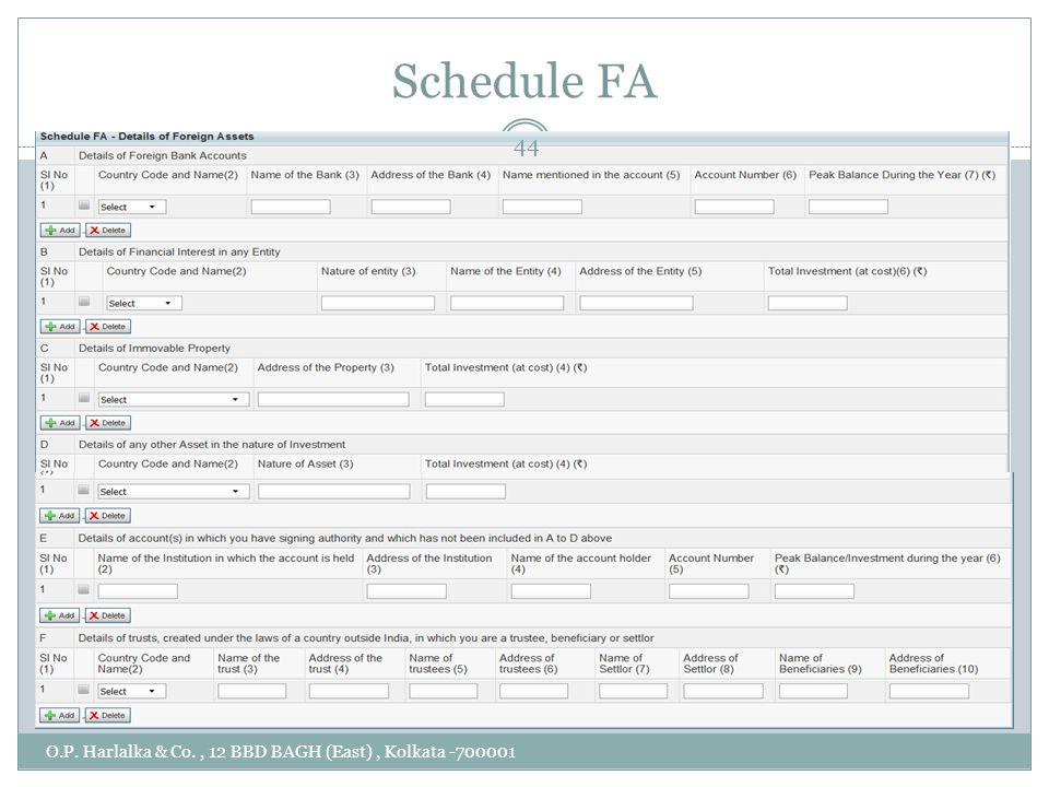 Schedule FA O.P. Harlalka & Co., 12 BBD BAGH (East), Kolkata -700001 44