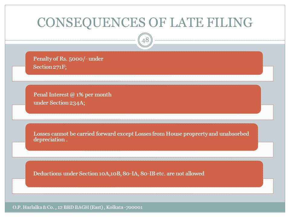 CONSEQUENCES OF LATE FILING O.P. Harlalka & Co., 12 BBD BAGH (East), Kolkata -700001 48