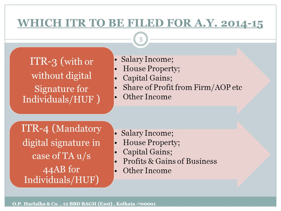 WHICH ITR TO BE FILED FOR A.Y. 2014-15 O.P. Harlalka & Co., 12 BBD BAGH (East), Kolkata -700001 5