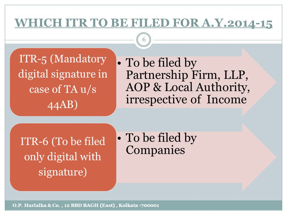 WHICH ITR TO BE FILED FOR A.Y. 2014-15 O.P. Harlalka & Co., 12 BBD BAGH (East), Kolkata -700001 7