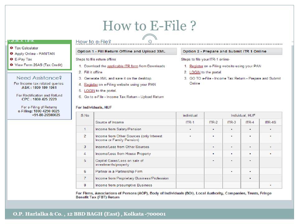 How to E-File ? O.P. Harlalka & Co., 12 BBD BAGH (East), Kolkata -700001 9