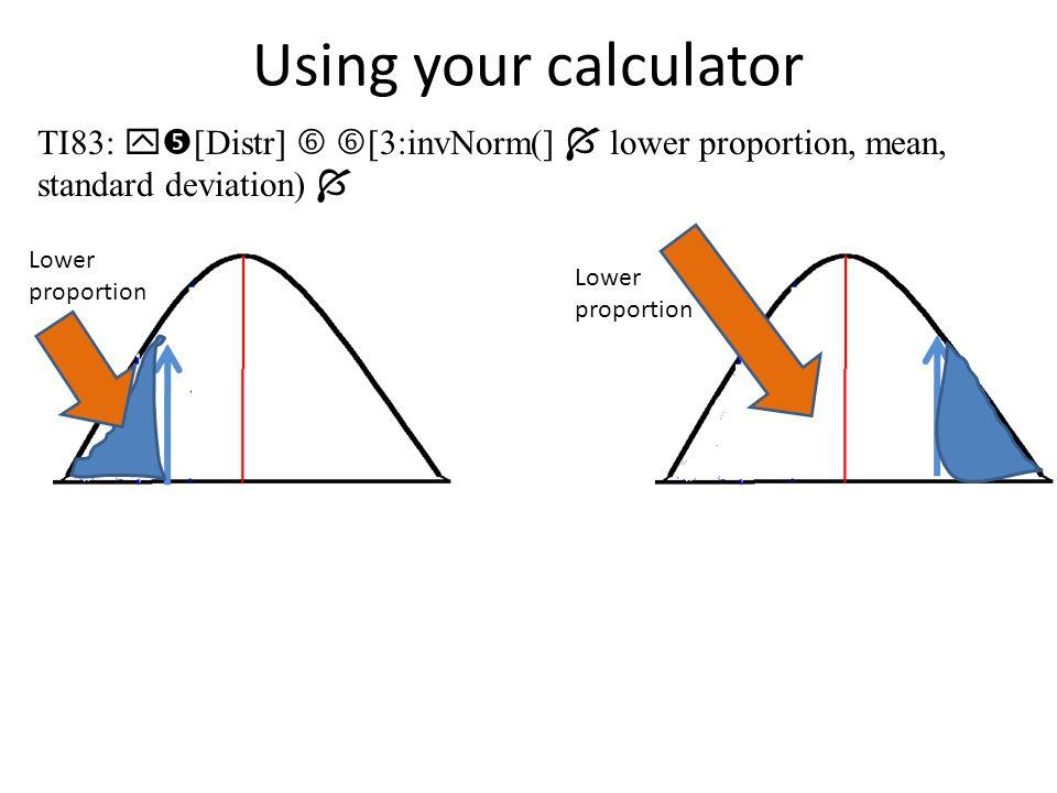 Example: c. P(Z > 1.77) = TI83:  [Distr]  [2:normalcdf(]  1.77, 10000, 0, 1)  c. P(Z > 1.77) = 0.0383635226 3.8% of data falls above 1.77
