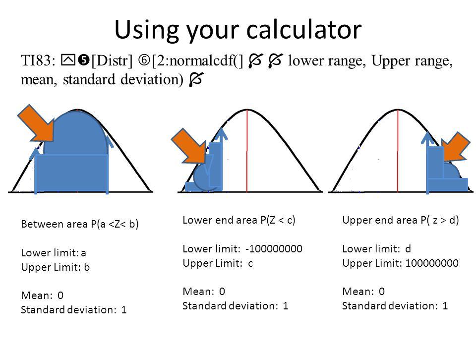 Example: a.P(Z < = -2.25) = b.P(Z > = -2.25) = c.P(Z > 1.77) = d.P(-2.25 < Z < 1.77)= e.P(Z < a) = 5% f.P(Z > b) = 3%