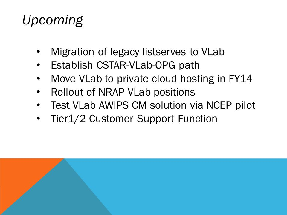 Upcoming Migration of legacy listserves to VLab Establish CSTAR-VLab-OPG path Move VLab to private cloud hosting in FY14 Rollout of NRAP VLab positions Test VLab AWIPS CM solution via NCEP pilot Tier1/2 Customer Support Function
