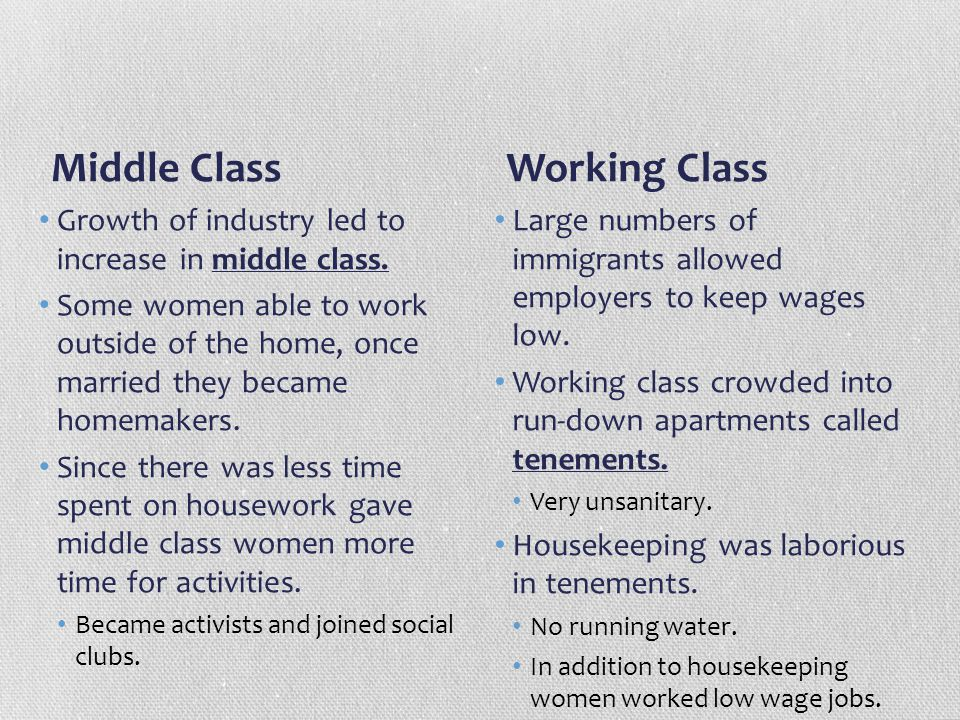 Middle Class Growth of industry led to increase in middle class. Some women able to work outside of the home, once married they became homemakers. Sin
