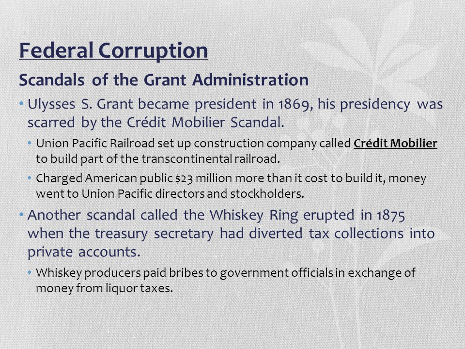 credit mobilier scandal The credit mobilier was a railroad construction company, formed by the insiders of the transcontinental union pacific railway they hired themselves to build the railroad line and sometimes paid themselves as much as $50,000 a mile for construction that actually cost $30,000 a mile.