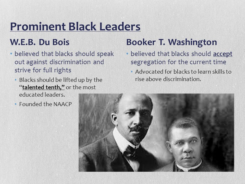 Prominent Black Leaders W.E.B. Du Bois believed that blacks should speak out against discrimination and strive for full rights Blacks should be lifted