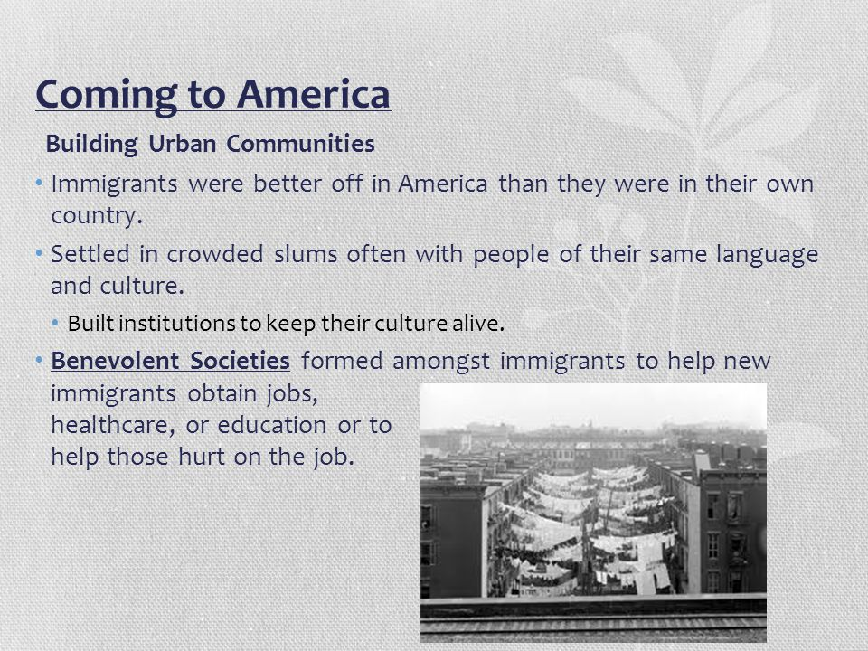 Coming to America Building Urban Communities Immigrants were better off in America than they were in their own country. Settled in crowded slums often