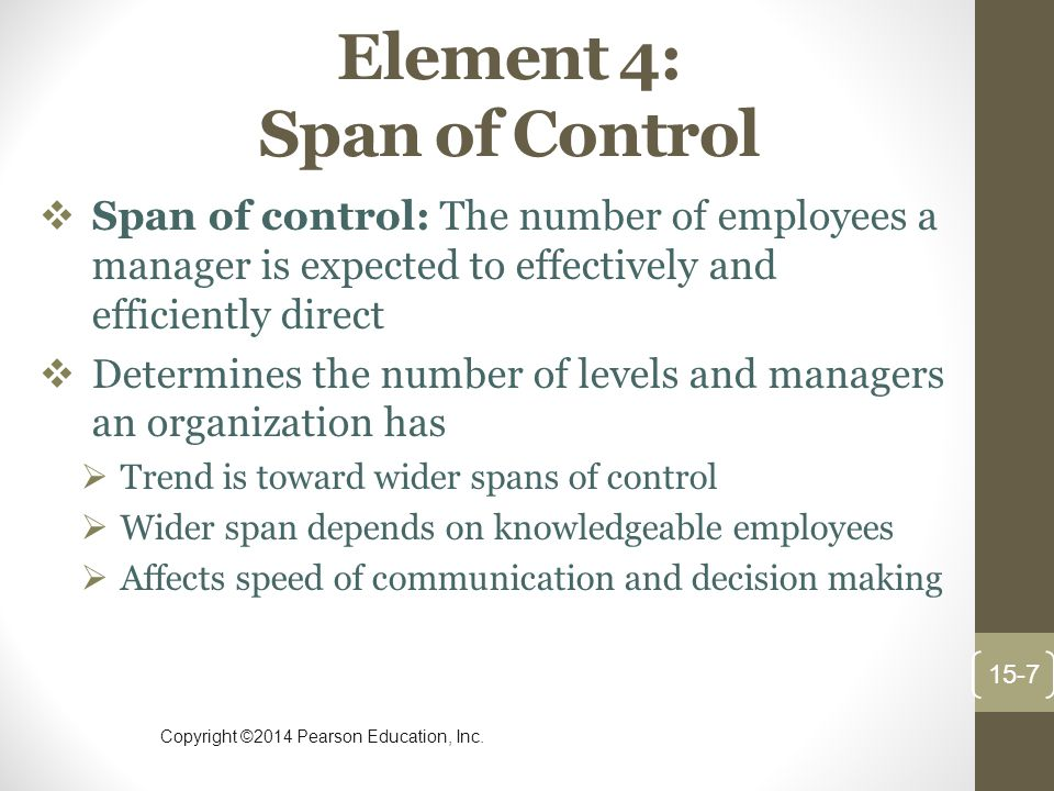 Copyright ©2014 Pearson Education, Inc. Element 4: Span of Control  Span of control: The number of employees a manager is expected to effectively and