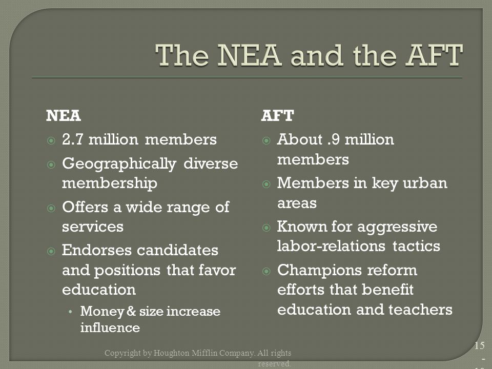 NEA  2.7 million members  Geographically diverse membership  Offers a wide range of services  Endorses candidates and positions that favor educati