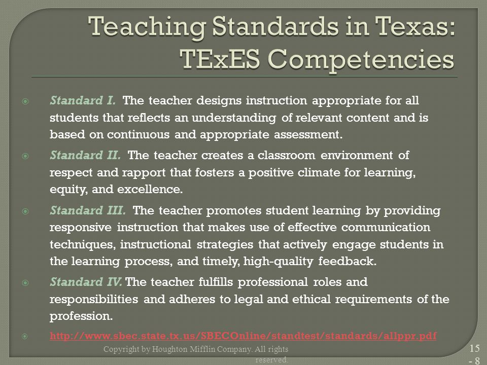 Standard I. The teacher designs instruction appropriate for all students that reflects an understanding of relevant content and is based on continuo