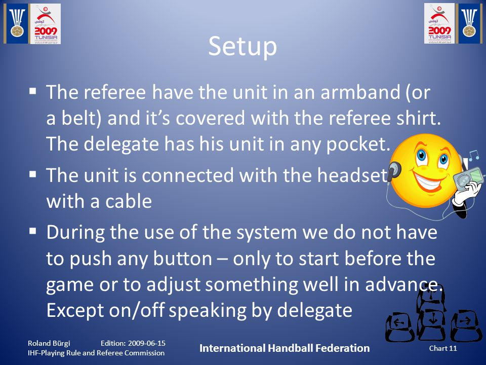 Setup Roland Bürgi Edition: 2009-06-15 IHF-Playing Rule and Referee Commission International Handball Federation Chart 11  The referee have the unit in an armband (or a belt) and it's covered with the referee shirt.