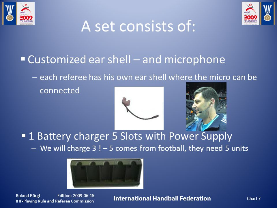A set consists of: Roland Bürgi Edition: 2009-06-15 IHF-Playing Rule and Referee Commission International Handball Federation Chart 7  Customized ear shell – and microphone  each referee has his own ear shell where the micro can be connected  1 Battery charger 5 Slots with Power Supply – We will charge 3 .