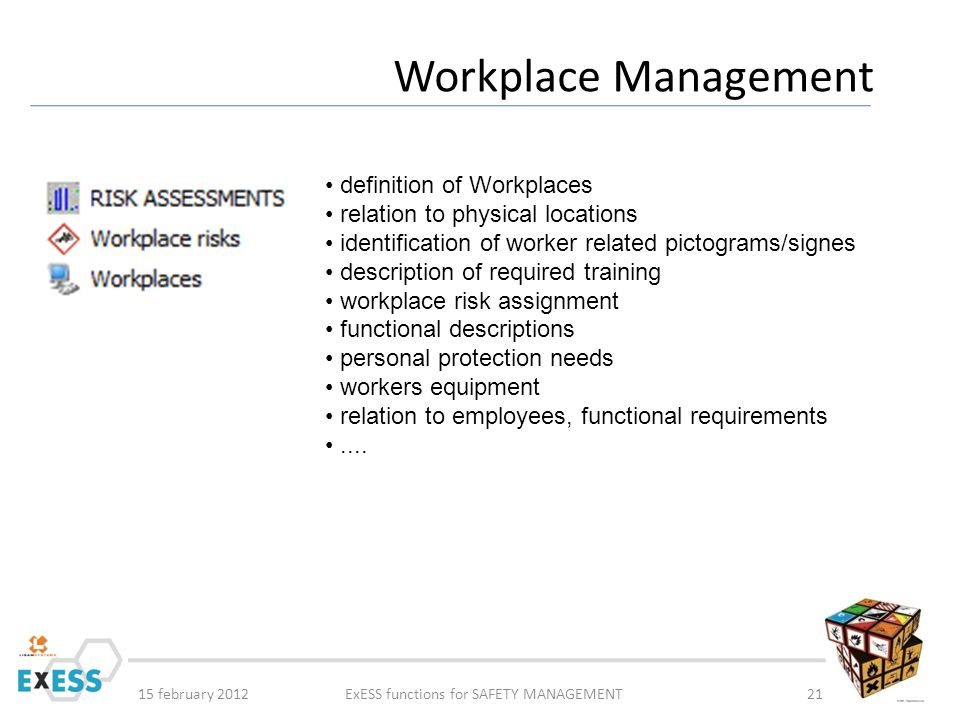 15 february 2012ExESS functions for SAFETY MANAGEMENT21 Workplace Management definition of Workplaces relation to physical locations identification of worker related pictograms/signes description of required training workplace risk assignment functional descriptions personal protection needs workers equipment relation to employees, functional requirements....