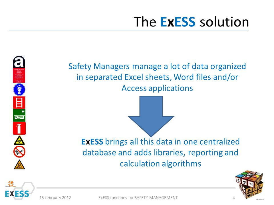 15 february 2012ExESS functions for SAFETY MANAGEMENT5 The ExESS centralised solution Other IT systems Other IT systems ERP System Materials Employees Prices Suppliers Clients Installations … ERP System Materials Employees Prices Suppliers Clients Installations … Existing IT systems Existing IT systems ExESS database Manual input Data Sources reporting e-mails, data transfer reporting e-mails, data transfer Web applicaties (intranet) Web applicaties (intranet) … a wide range of possibilities … a wide range of possibilities