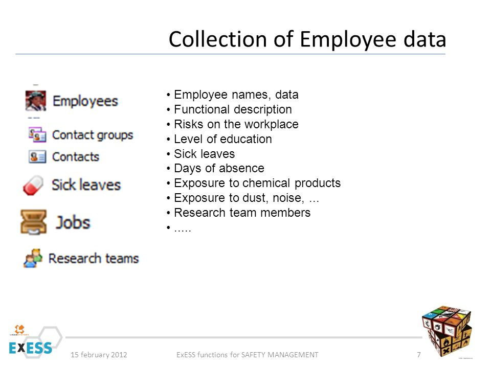 15 february 2012ExESS functions for SAFETY MANAGEMENT8 Collection of Employee data