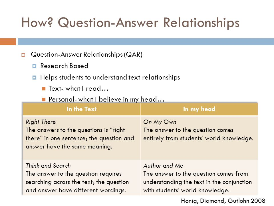 How? Question-Answer Relationships  Question-Answer Relationships (QAR)  Research Based  Helps students to understand text relationships Text- what