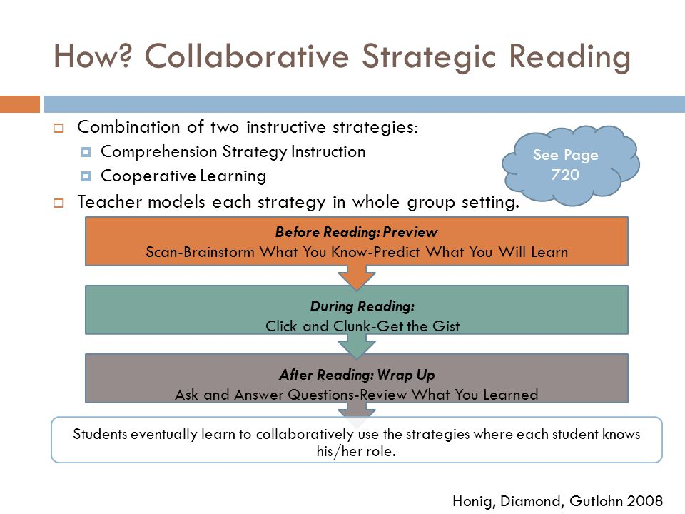 How? Collaborative Strategic Reading  Combination of two instructive strategies:  Comprehension Strategy Instruction  Cooperative Learning  Teache