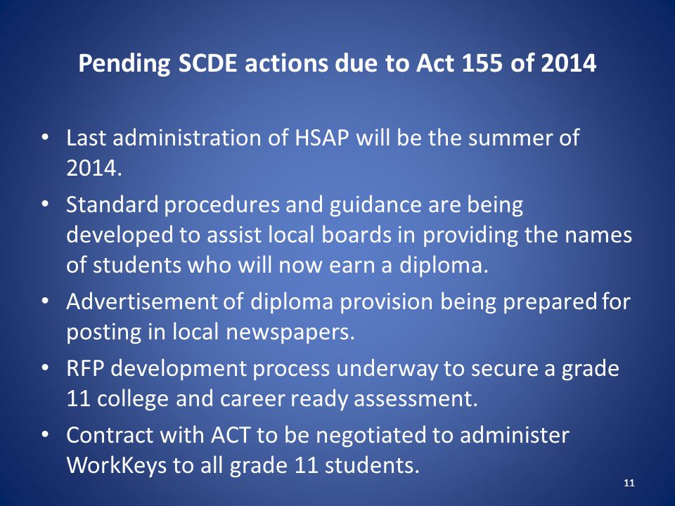 Pending SCDE actions due to Act 155 of 2014 Last administration of HSAP will be the summer of 2014. Standard procedures and guidance are being develop
