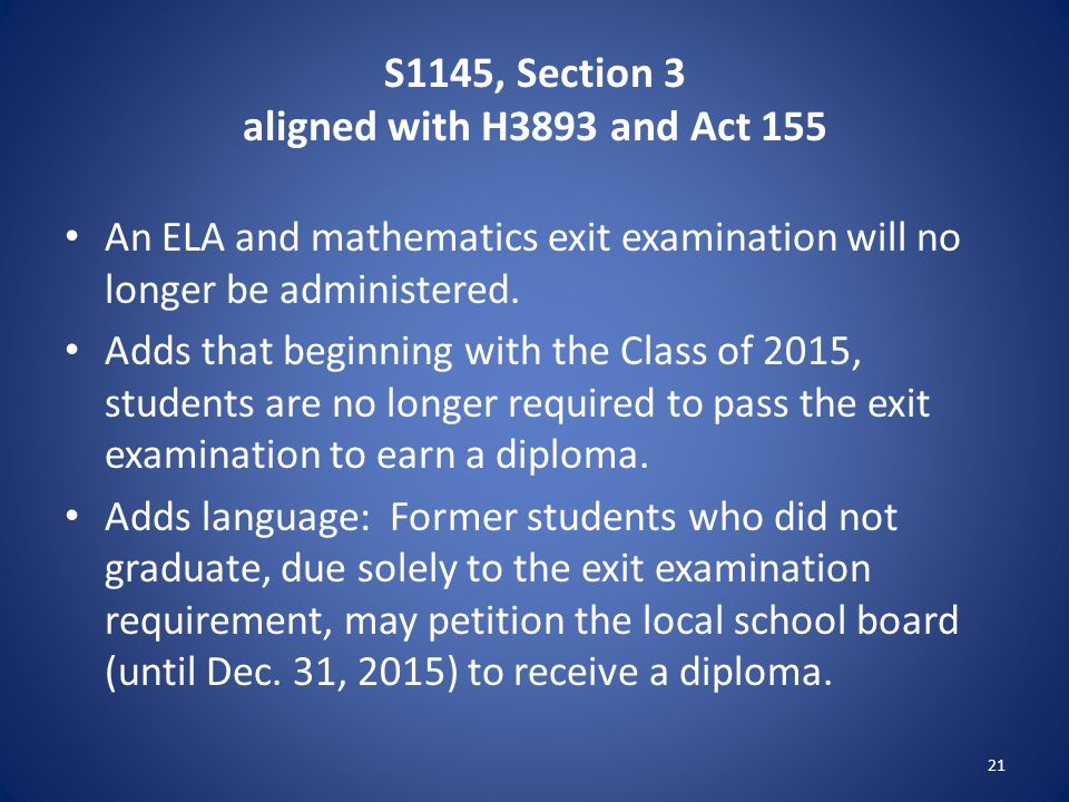 S1145, Section 3 aligned with H3893 and Act 155 An ELA and mathematics exit examination will no longer be administered.