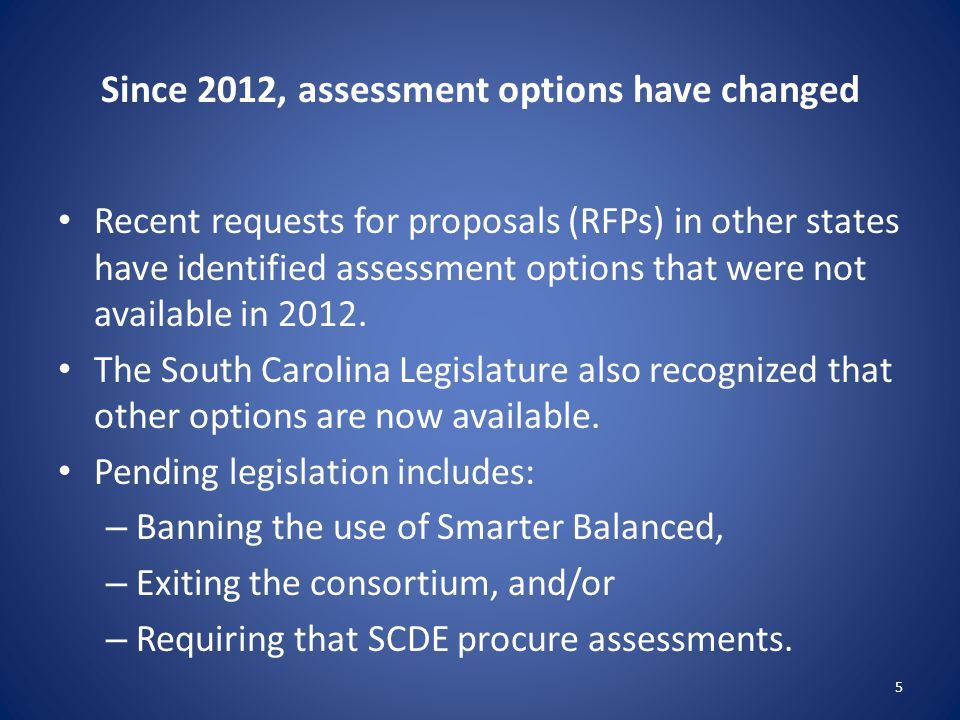 Since 2012, assessment options have changed Recent requests for proposals (RFPs) in other states have identified assessment options that were not available in 2012.
