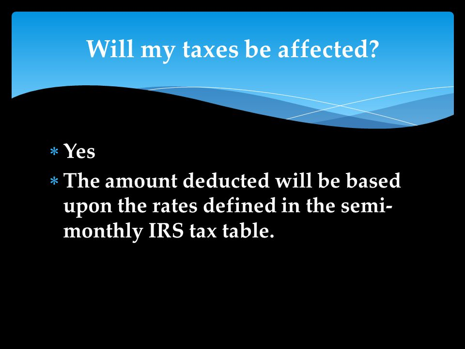  Yes  The amount deducted will be based upon the rates defined in the semi- monthly IRS tax table.