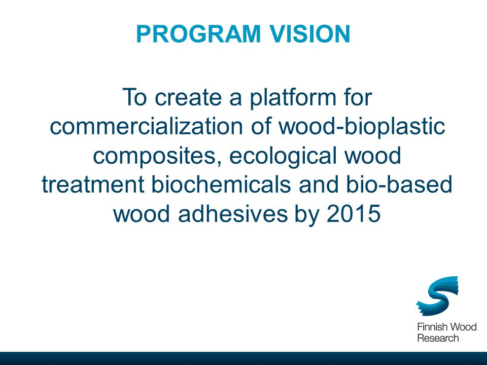 PROGRAM VISION To create a platform for commercialization of wood-bioplastic composites, ecological wood treatment biochemicals and bio-based wood adhesives by 2015