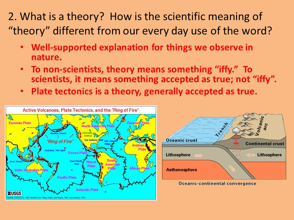 """2. What is a theory? How is the scientific meaning of """"theory"""" different from our every day use of the word? Well-supported explanation for things we"""