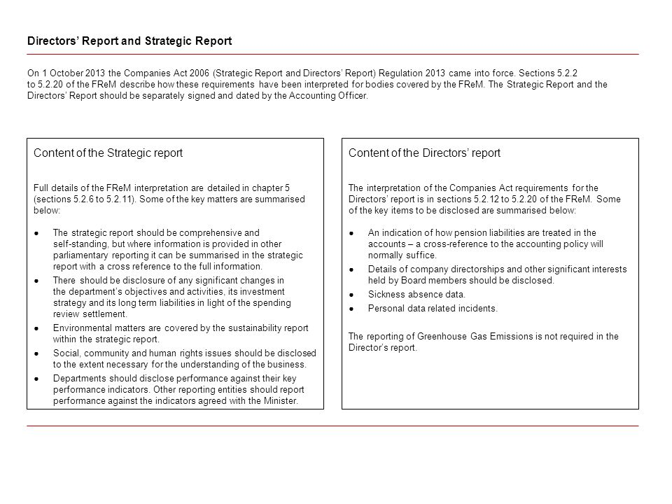 Content of the Strategic report Full details of the FReM interpretation are detailed in chapter 5 (sections 5.2.6 to 5.2.11).
