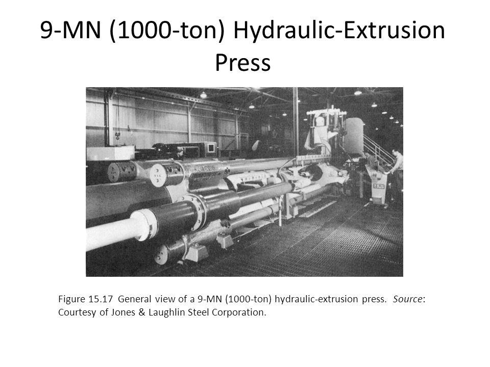 9-MN (1000-ton) Hydraulic-Extrusion Press Figure 15.17 General view of a 9-MN (1000-ton) hydraulic-extrusion press. Source: Courtesy of Jones & Laughl