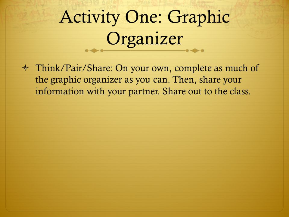 Activity One: Graphic Organizer  Think/Pair/Share: On your own, complete as much of the graphic organizer as you can.