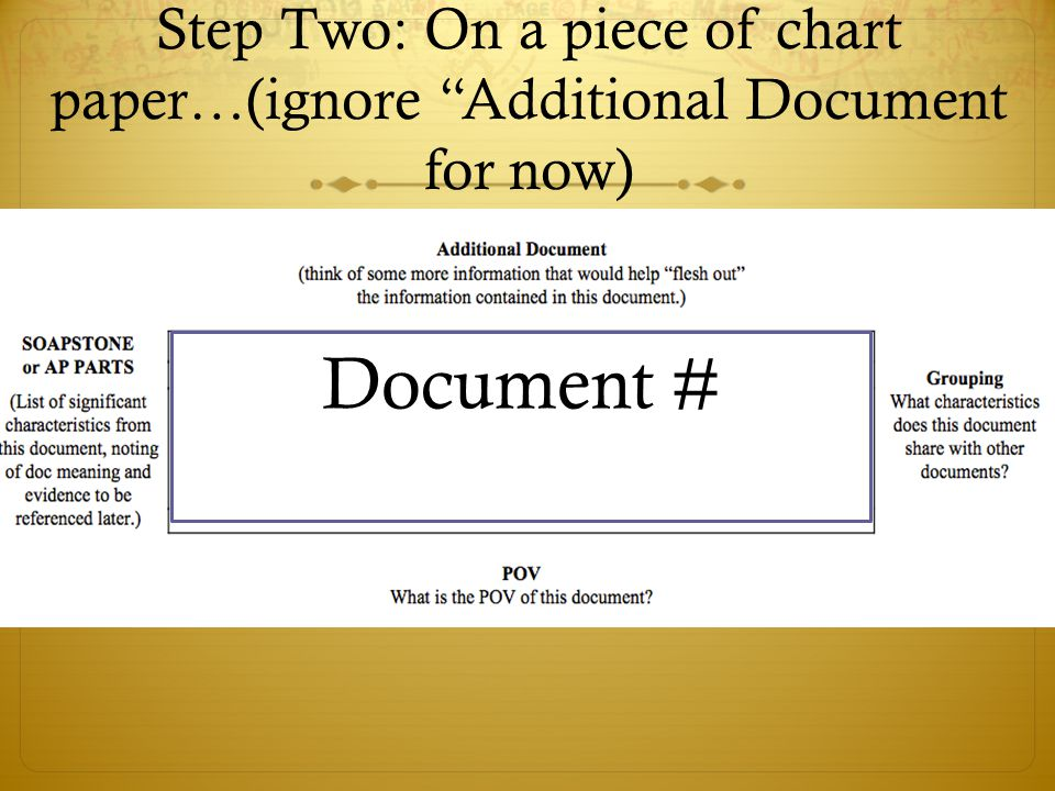 Step Two: On a piece of chart paper…(ignore Additional Document for now) Document #