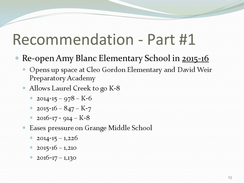 Recommendation - Part #1 Re-open Amy Blanc Elementary School in 2015-16 Opens up space at Cleo Gordon Elementary and David Weir Preparatory Academy Allows Laurel Creek to go K-8 2014-15 – 978 – K-6 2015-16 – 847 – K-7 2016-17 - 914 – K-8 Eases pressure on Grange Middle School 2014-15 – 1,226 2015-16 – 1,210 2016-17 – 1,130 23