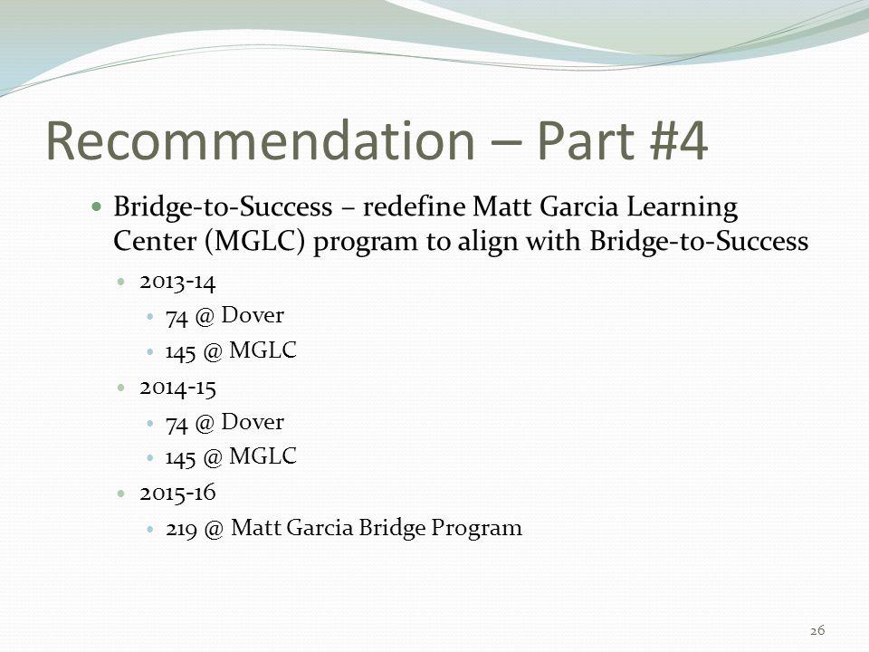 Recommendation – Part #4 Bridge-to-Success – redefine Matt Garcia Learning Center (MGLC) program to align with Bridge-to-Success 2013-14 74 @ Dover 14