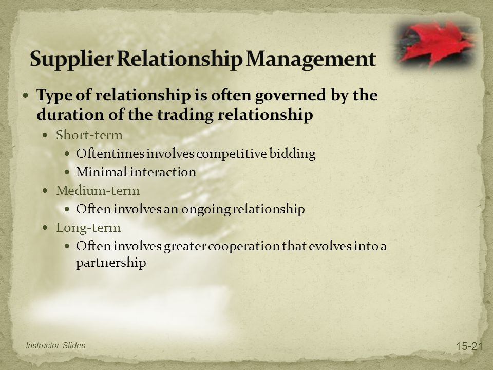 Type of relationship is often governed by the duration of the trading relationship Short-term Oftentimes involves competitive bidding Minimal interaction Medium-term Often involves an ongoing relationship Long-term Often involves greater cooperation that evolves into a partnership Instructor Slides 15-21