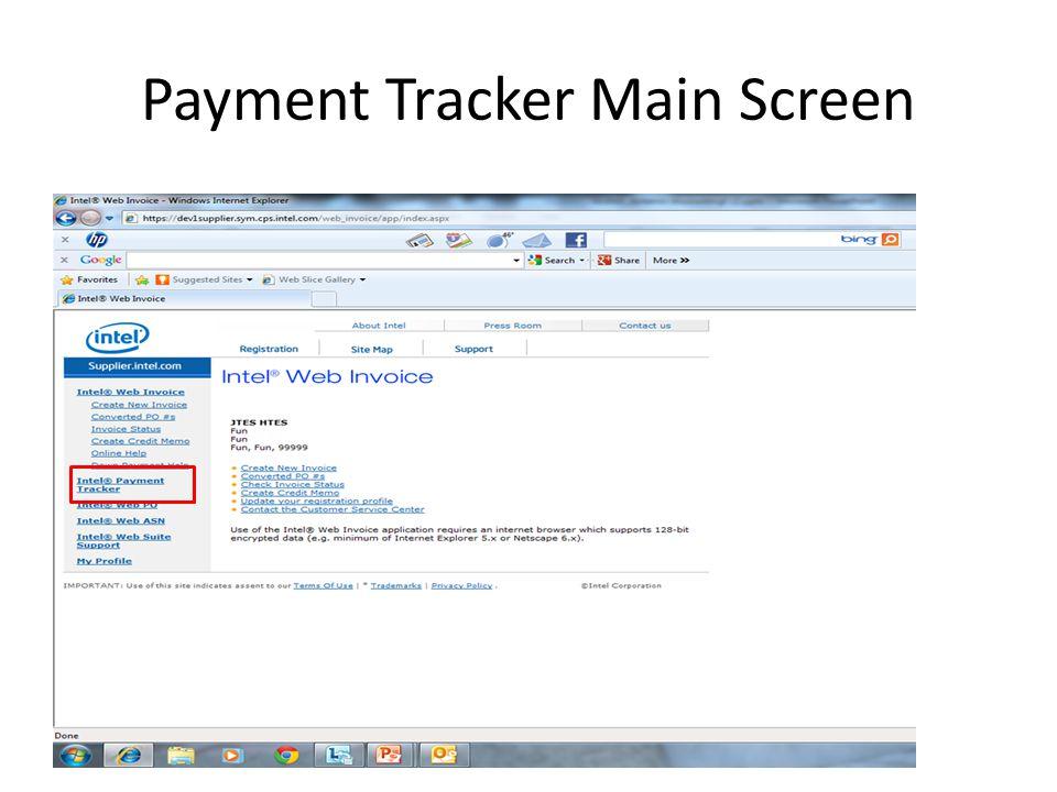 Payment Tracker Main Screen