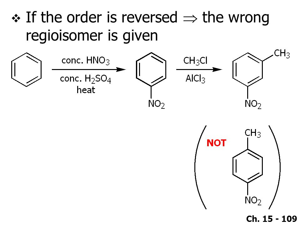 Ch. 15 - 109  If the order is reversed  the wrong regioisomer is given