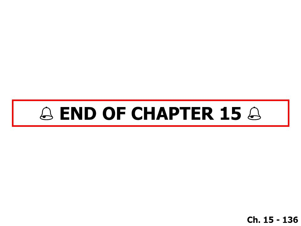 Ch. 15 - 136  END OF CHAPTER 15 