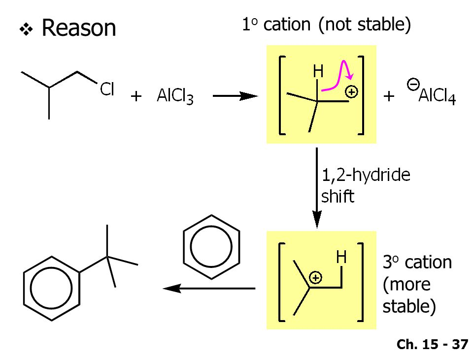 Ch. 15 - 37 1 o cation (not stable)  Reason 3 o cation (more stable)