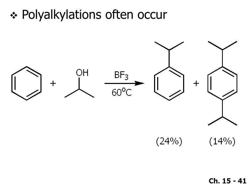 Ch. 15 - 41  Polyalkylations often occur