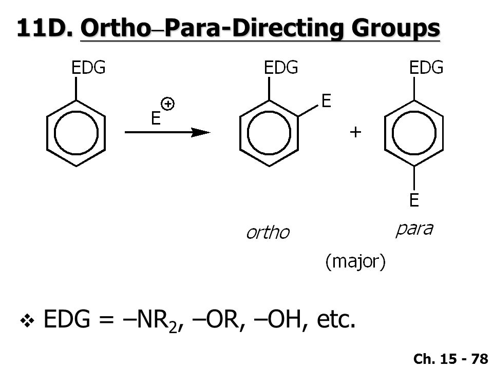Ch. 15 - 78  EDG = –NR 2, –OR, –OH, etc. 11D. Ortho – Para-Directing Groups