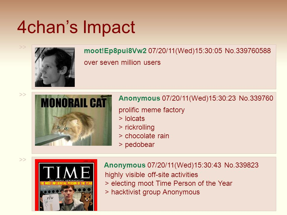 4chan's Impact >> moot!Ep8pui8Vw2 07/20/11(Wed)15:30:05 No.339760588 over seven million users >> Anonymous 07/20/11(Wed)15:30:23 No.339760 prolific me