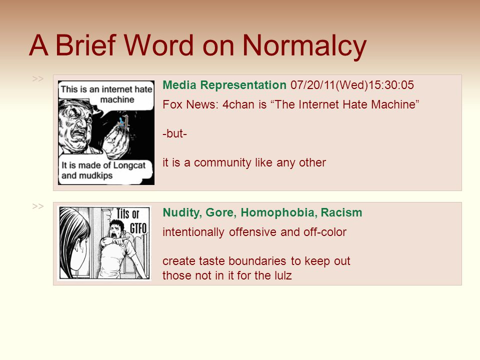 "A Brief Word on Normalcy >> Media Representation 07/20/11(Wed)15:30:05 Fox News: 4chan is ""The Internet Hate Machine"" -but- it is a community like any"