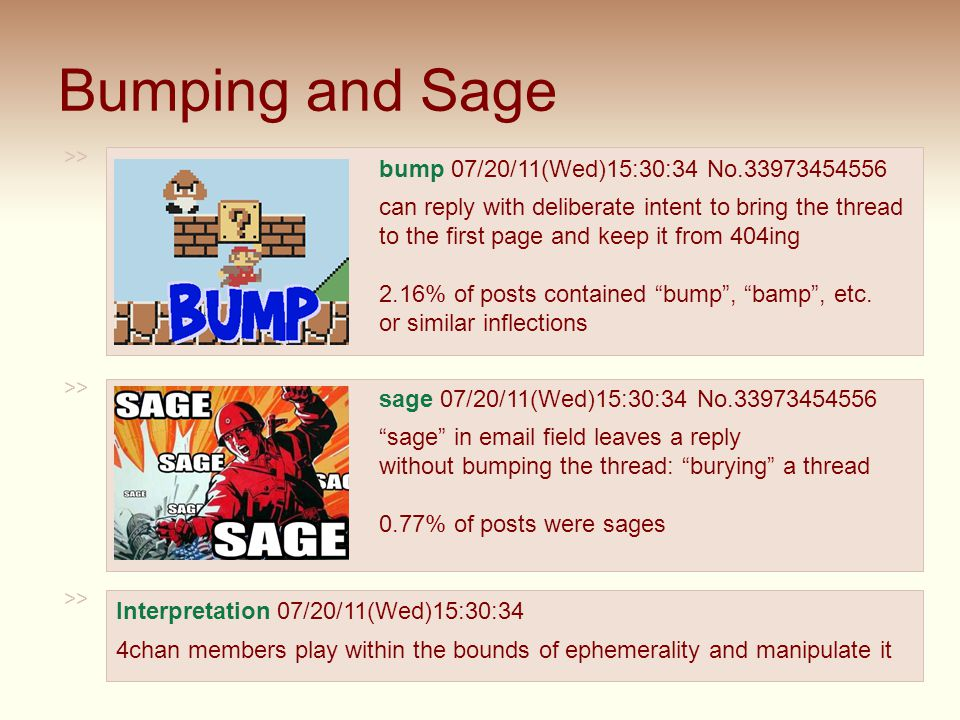 Bumping and Sage 39 >> bump 07/20/11(Wed)15:30:34 No.33973454556 can reply with deliberate intent to bring the thread to the first page and keep it from 404ing 2.16% of posts contained bump , bamp , etc.
